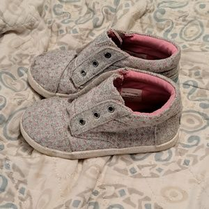 Girls Toms pink and gray shoes, size 11